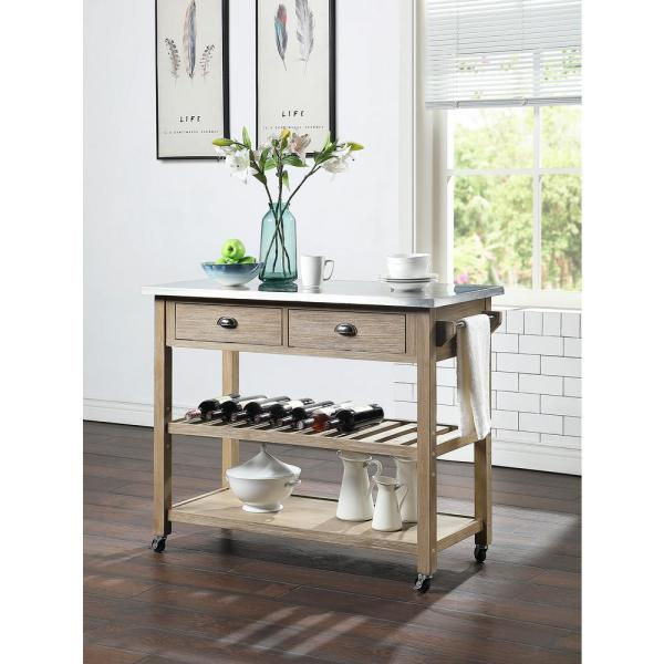 4D Concepts Alex Wood and Metal Kitchen Island Cart in Neutral