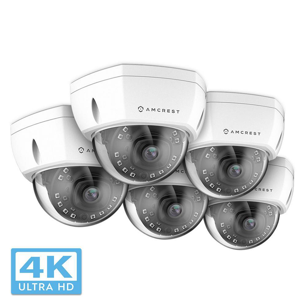 Amcrest UltraHD Wired Outdoor Dome POE IP Surveillance Camera with 4K  (8MP/3840x2160) IP67 Weatherproof, White (5-Pack)