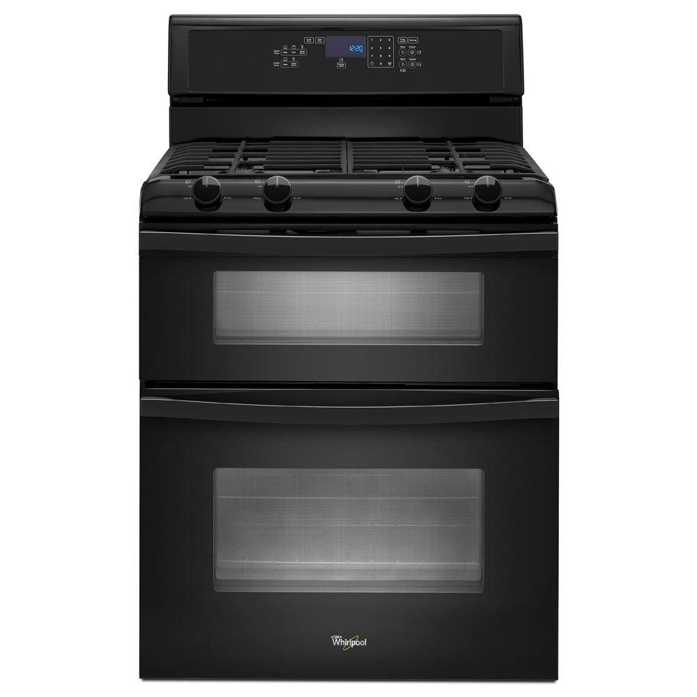 Whirlpool 6.0 cu. ft. Double Oven Gas Range with Self-Cleaning Oven in Black