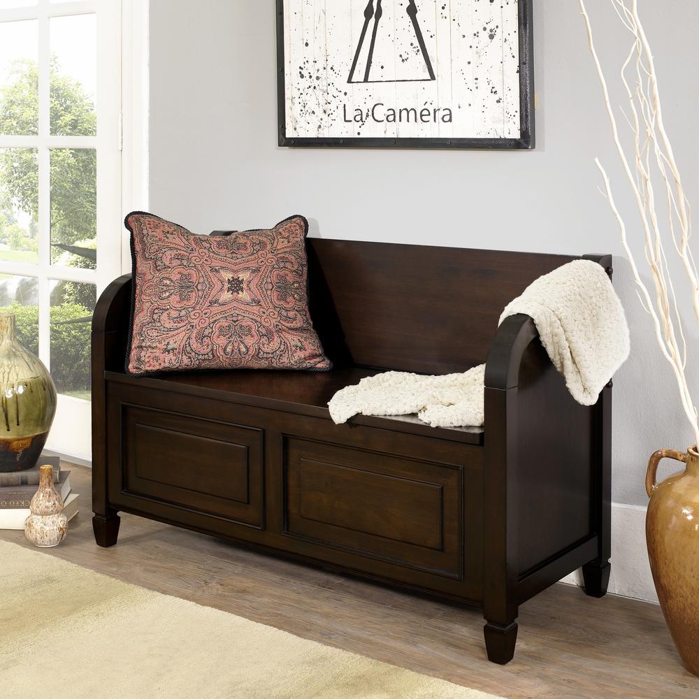 Connaught Dark Chestnut Brown Storage  Bench