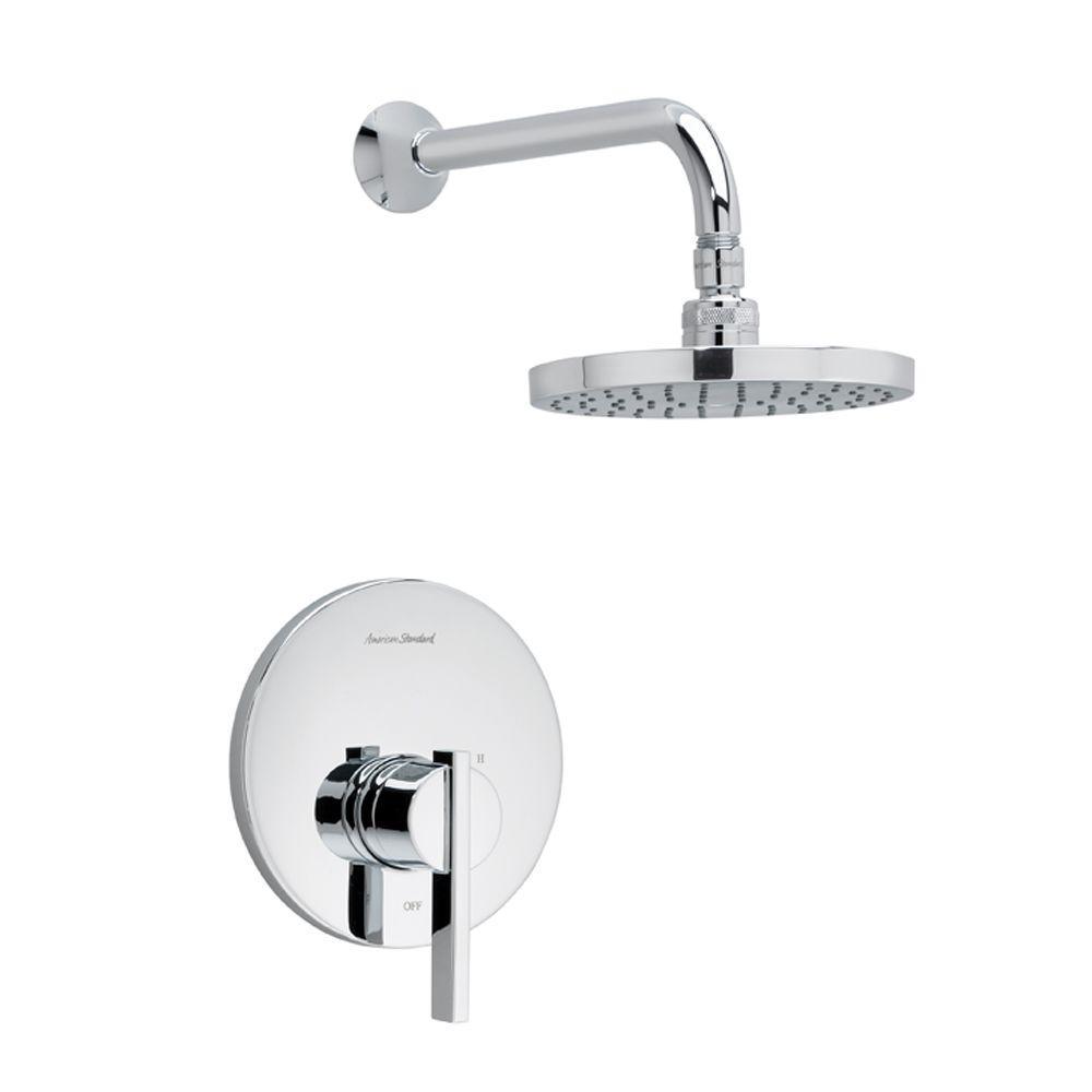 American Standard Berwick 1 Handle Shower Faucet Trim Kit Rain Showerhead  In Polished Chrome (