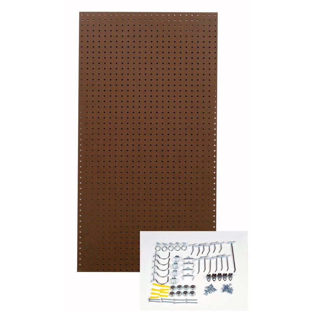 Triton 24 in. x 48 in. Heavy Duty Brown Pegboard Wall Organizer Kit with 36 Hooks