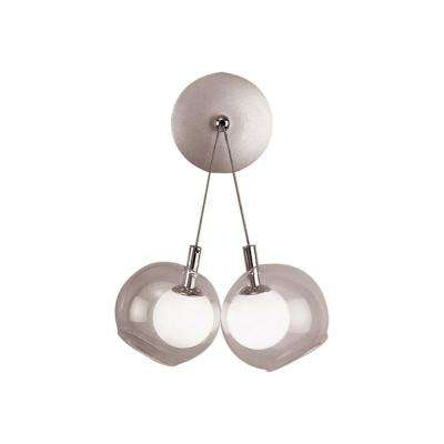 2-Light Satin Nickel Sconce with Matte Opal and Clear Glass