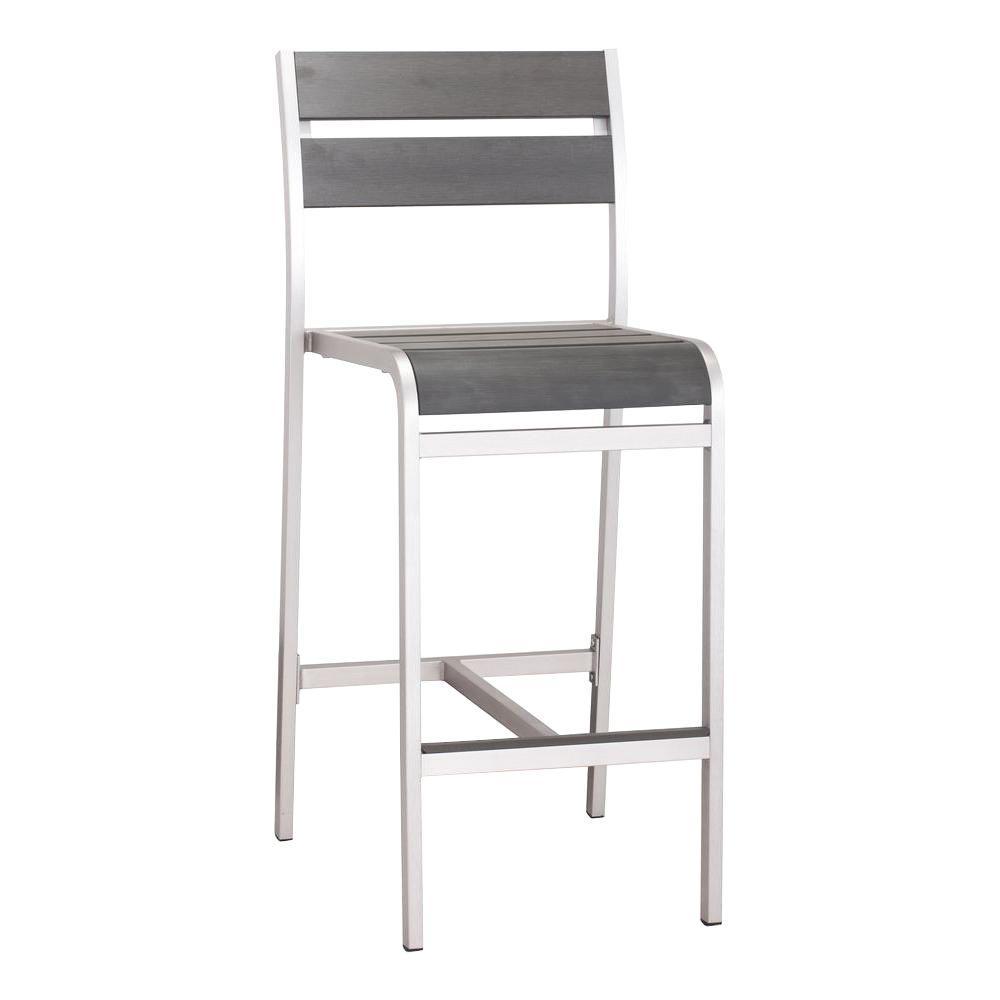Megapolis Brushed Aluminum Outdoor Patio Bar Chair