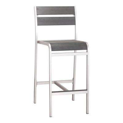 Megapolis Brushed Aluminum Outdoor Patio Bar Chair