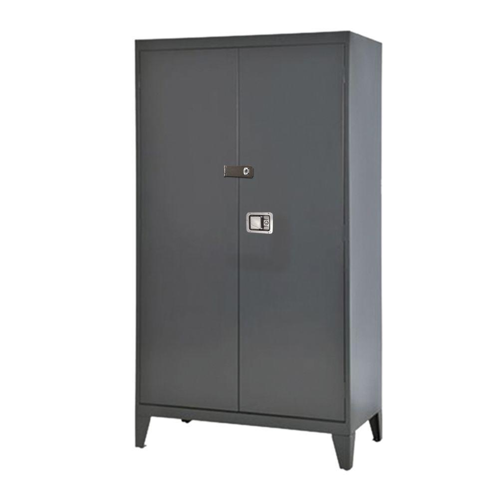 Sandusky 79 in. H x 46 in. W x 18 in. D 5-Shelf Steel Extra Heavy Duty 16-Gauge Freestanding Storage Cabinet in Charcoal