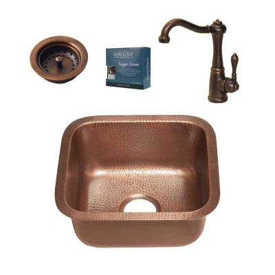 Sisley All-in-One Undermount 15 in. Single Bowl Copper Bar/Prep Kitchen Sink with Pfister Faucet and Strainer Drain