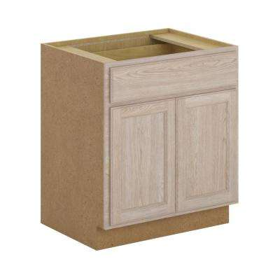 Stratford Assembled 30x34.5x24 in. Base Cabinet with Soft Close Drawer in Unfinished Oak