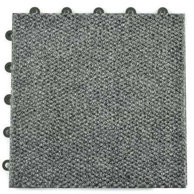 ClickBase Gray Hobnail Textured Loop 12.125 in. x 12.125 in. x 9/16 in. Raised Snap Together Carpet Tiles(20 Tiles/Case)