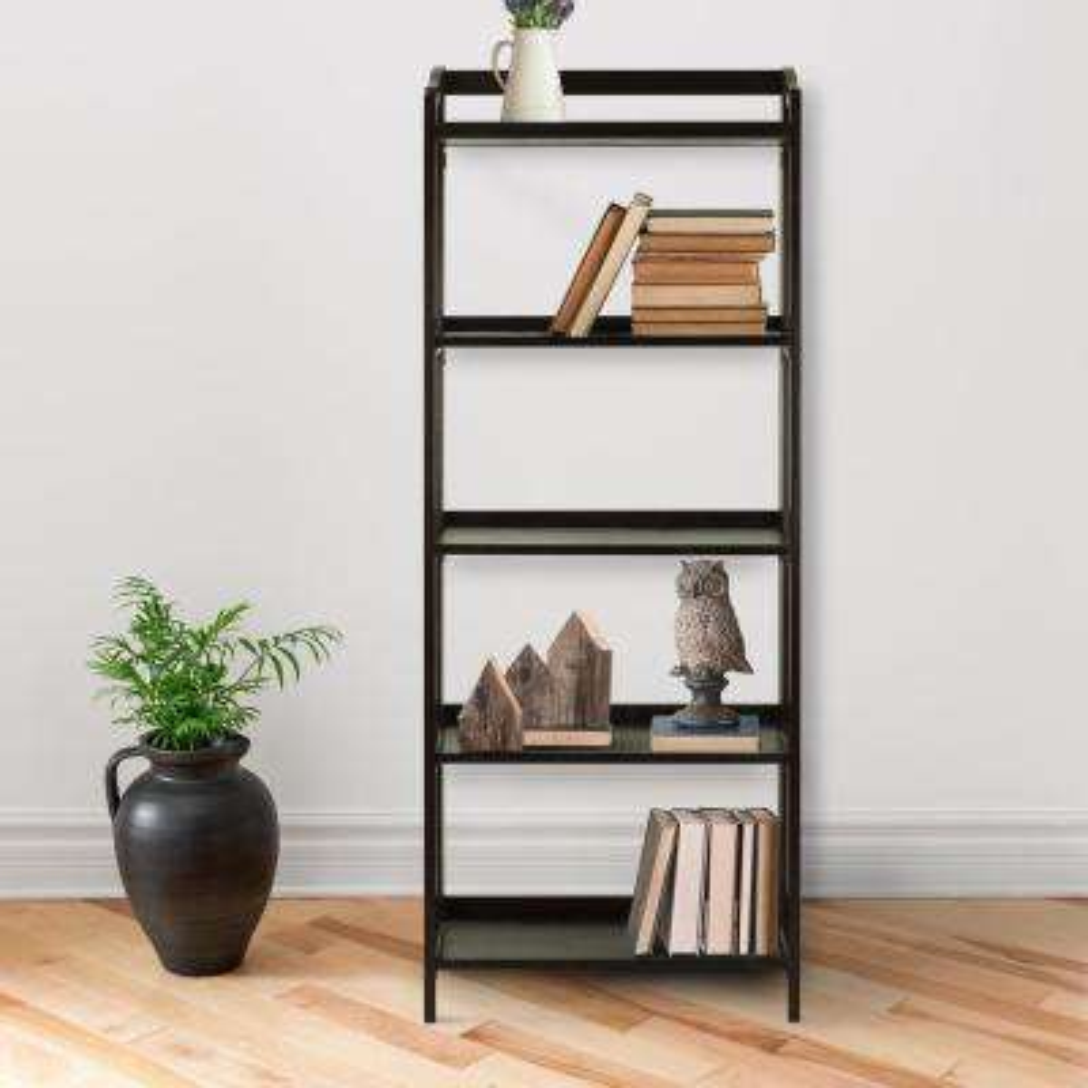 Stratford Espresso 5-Shelf Folding Bookcase