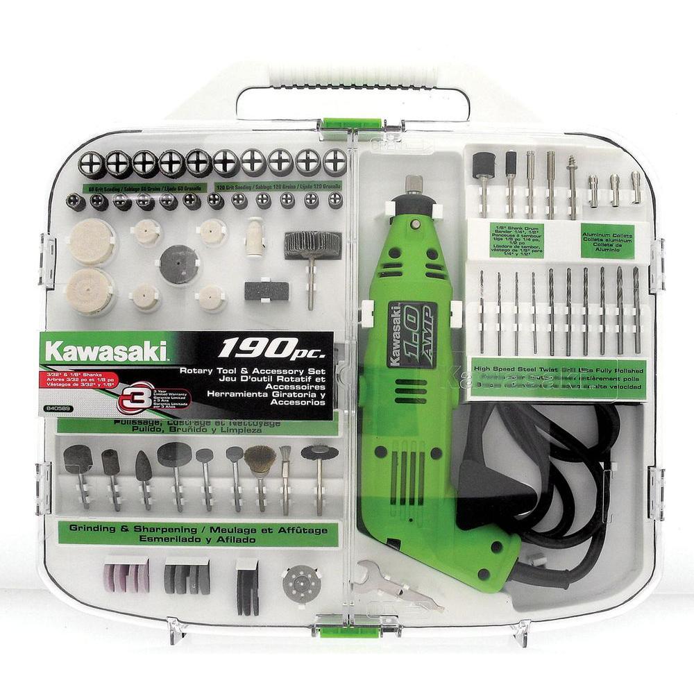 Kawasaki 190-Piece Rotary Tool and Accesory Kit