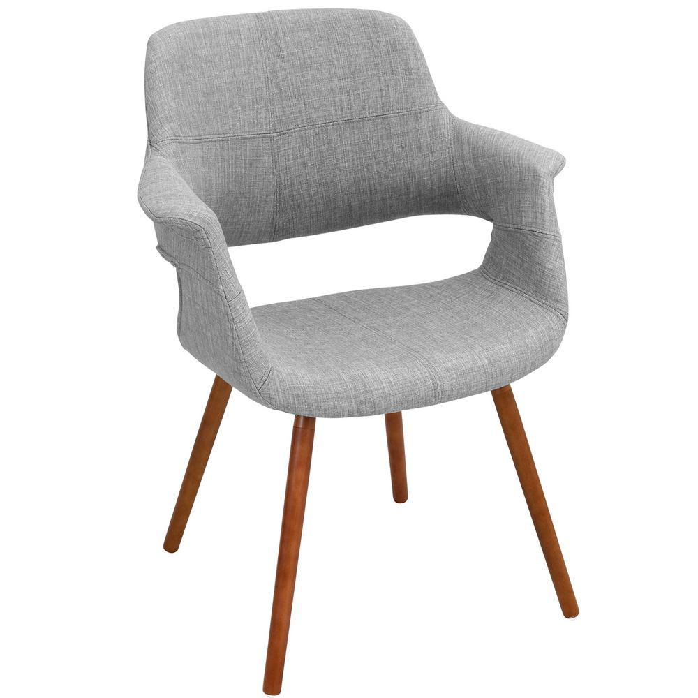 Lumisource Vintage Flair Walnut And Light Grey Accent Chair