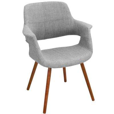 Vintage Flair Walnut and Light Grey Accent Chair