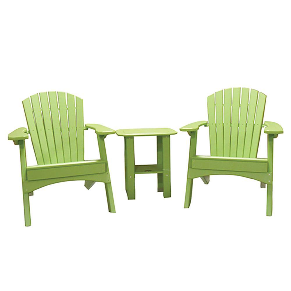 Lime Green 3-Piece Poly-Lumber Folding Patio Conversation Set