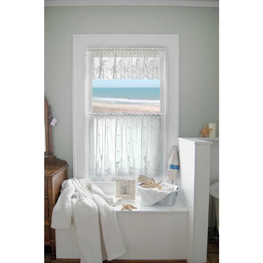 Heritage Lace Seascape 60 in. L Polyester Valance in White