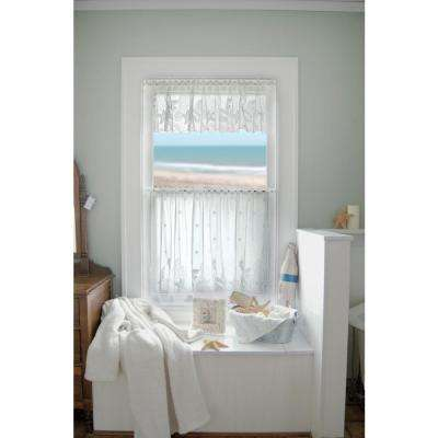 Seascape 60 in. L Polyester Valance in White