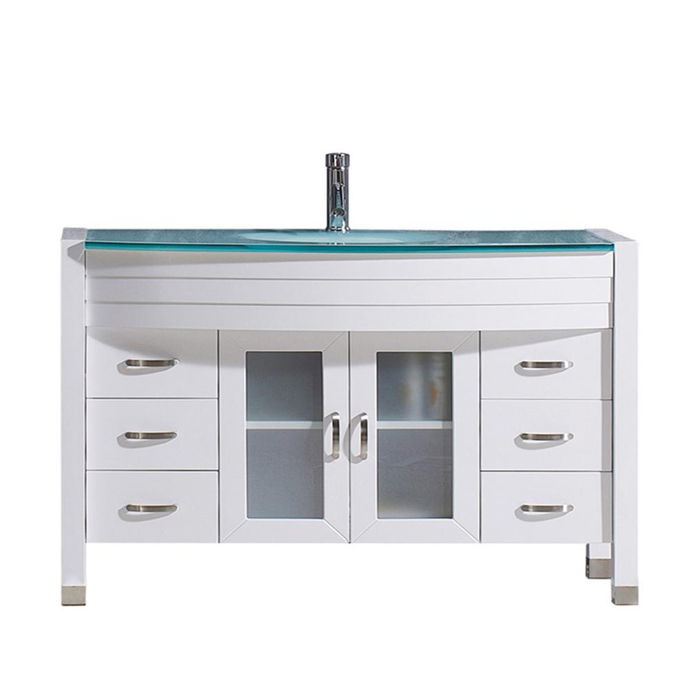Virtu USA Ava 47 in. W Bath Vanity in White with Glass Vanity Top in Aqua Tempered Glass with Round Basin and Faucet