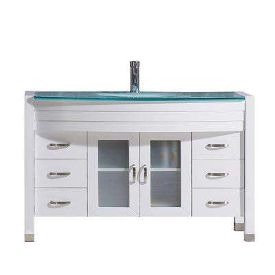 Ava 47 in. W Bath Vanity in White with Glass Vanity Top in Aqua Tempered Glass with Round Basin and Faucet