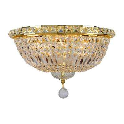 Empire Collection 6-Light 16 in. Gold Ceiling Light with Clear Crystal