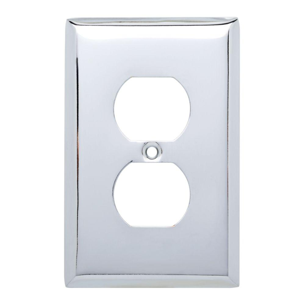 Hampton Bay Stamped Square Decorative Single Duplex Outlet Cover Polished Chrome 25 Pack