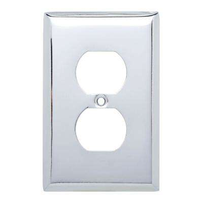 Stamped Square Decorative Single Duplex Outlet Cover, Polished Chrome (4-Pack)