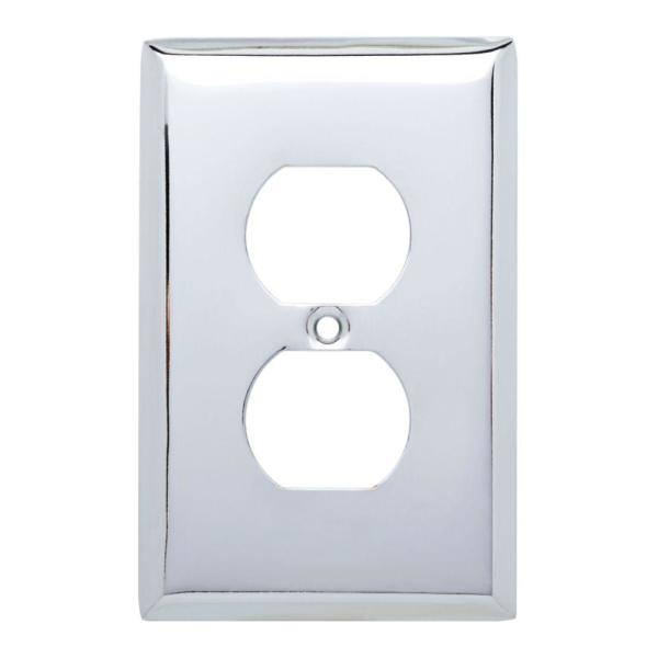 Chrome 1-Gang Duplex Outlet Wall Plate (4-Pack)