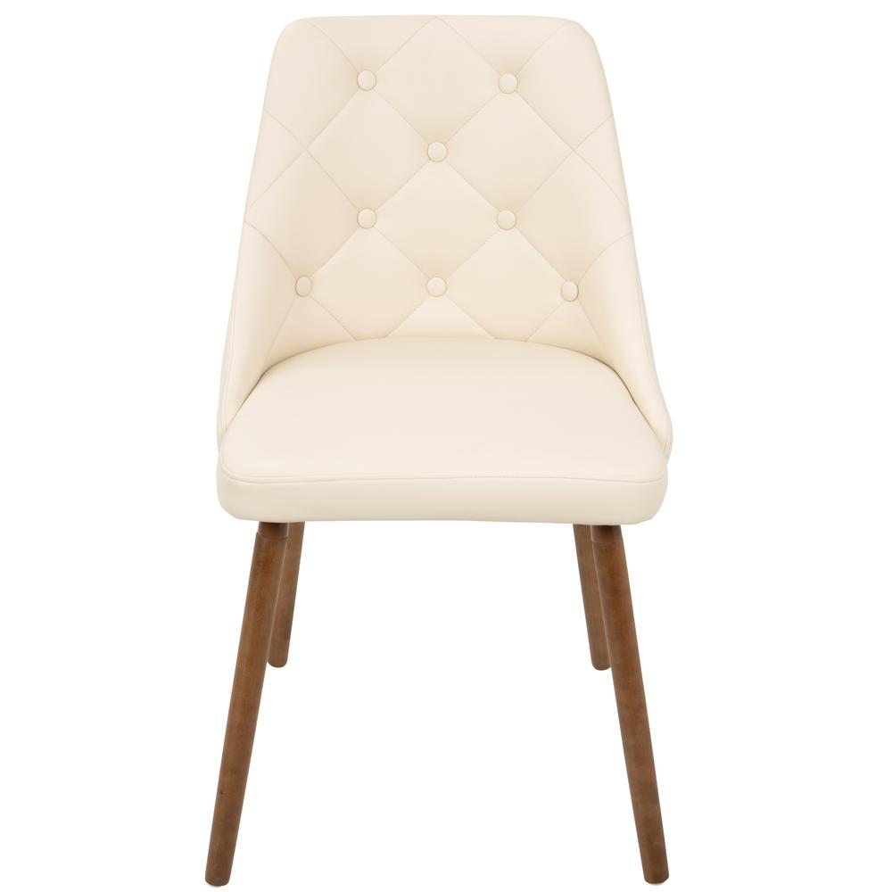 Lumisource giovanni mid century cream modern button tufted for Faux leather dining chairs