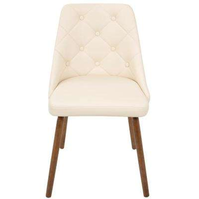 Giovanni Mid-Century Cream Modern Button Tufted Dining Chair Faux Leather