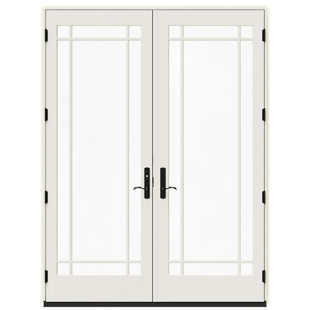 W 4500 Contemporary Vanilla Clad Wood Right Hand 9 Lite French Patio Door White Paint Interior