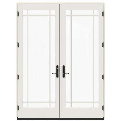 72 in. x 96 in. W-4500 Contemporary Vanilla Clad Wood Right-Hand 9 Lite French Patio Door w/White Paint Interior