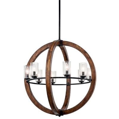 KICHLER Grand Bank 8-Light Auburn Stained Wood and Distressed Black Metal Chandelier with Clear Seeded Glass Shade