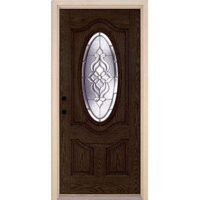 37.5 in. x 81.625 in. Lakewood Zinc 3/4 Oval Lite Stained Walnut Oak Right-Hand Inswing Fiberglass Prehung Front Door