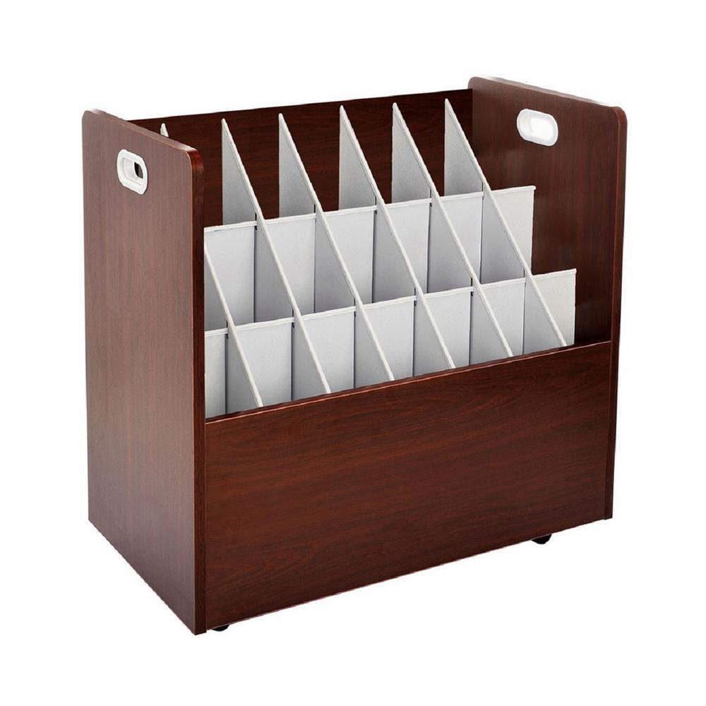 AdirOffice 21-Slot Mahogany Mobile Rolling Wood Blueprint Roll File Large