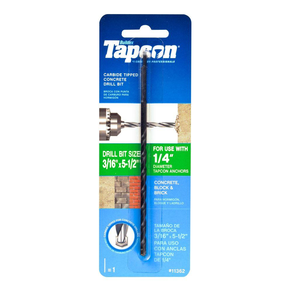 Tapcon 3/16 in. x 5-1/2 in. Carbide-Tipped Masonery Drill Bit