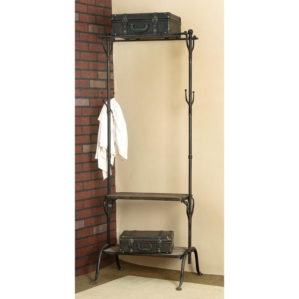 Litton Lane Black Metal And Natural Wood Clothing Rack With Coat Hooks And  Shelves