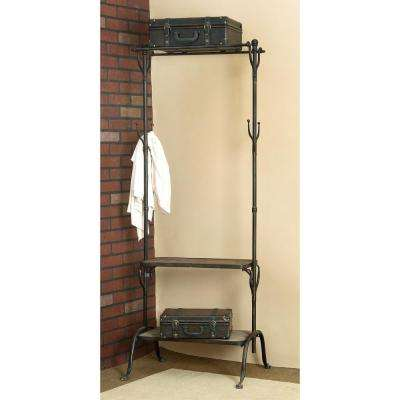 Black Metal and Natural Wood Clothing Rack with Coat Hooks and Shelves