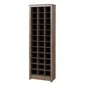 Drifted Gray Space-Saving 36-Pair Shoe Organizer Storage Cabinet