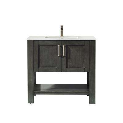 Grayson 36 in. Bath Vanity in Black with Manufactured Stone Vanity Top in White with White Basin