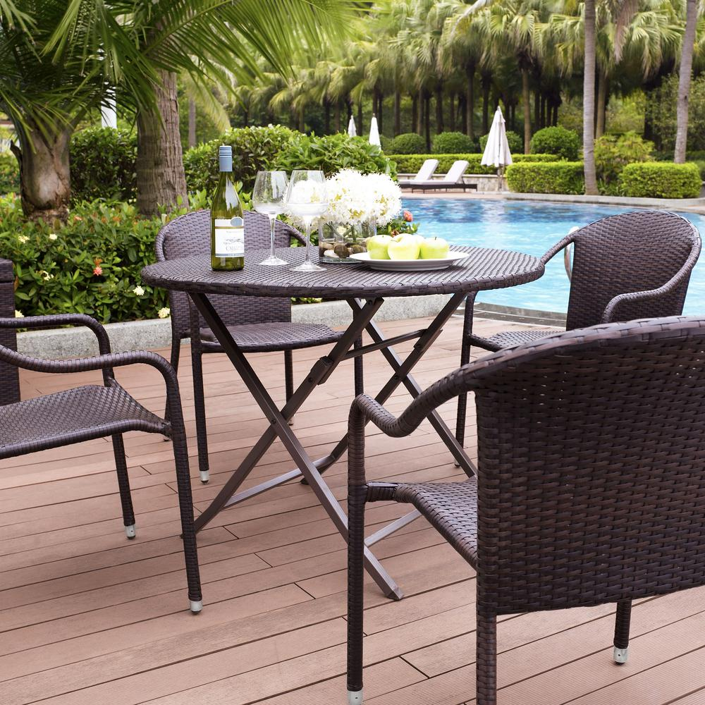 Remarkable Crosley Palm Harbor 5 Piece Wicker Outdoor Dining Set Creativecarmelina Interior Chair Design Creativecarmelinacom