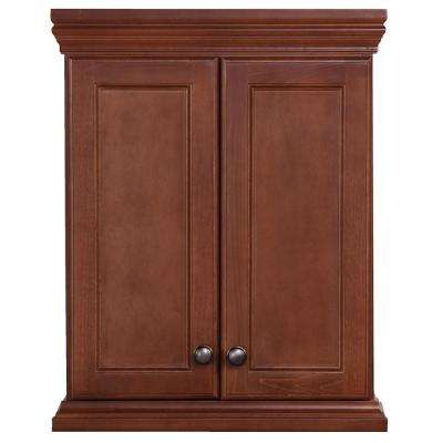 Brentwood 22 in. W x 28 in. H x 9 in. D Over the Toilet Bathroom Storage Wall Cabinet in Amber