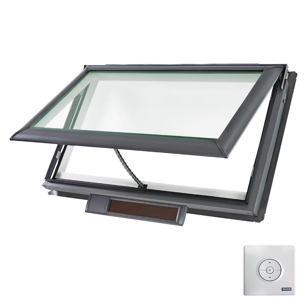 VELUX 44-1/4 x 26-7/8 in. Solar Powered Fresh Air Venting Deck-Mount Skylight with Laminated Low-E3 Glass