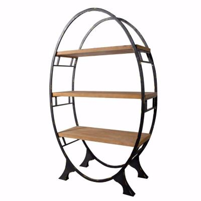 Modish 72 in. H Black and Brown Oval shaped Bookshelf