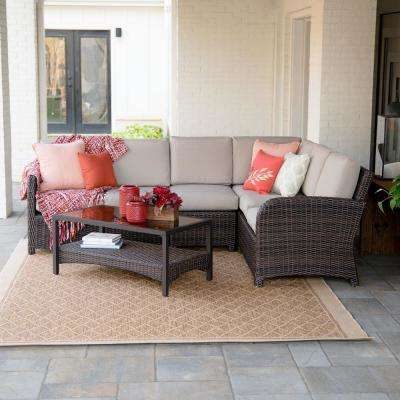 Jackson 5-Piece Wicker Outdoor Sectional with Sunbrella Cast Ash Cushions