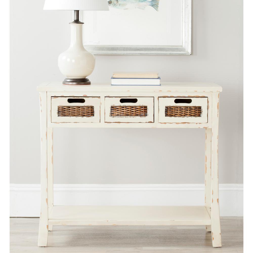 Autumn White Storage Console Table