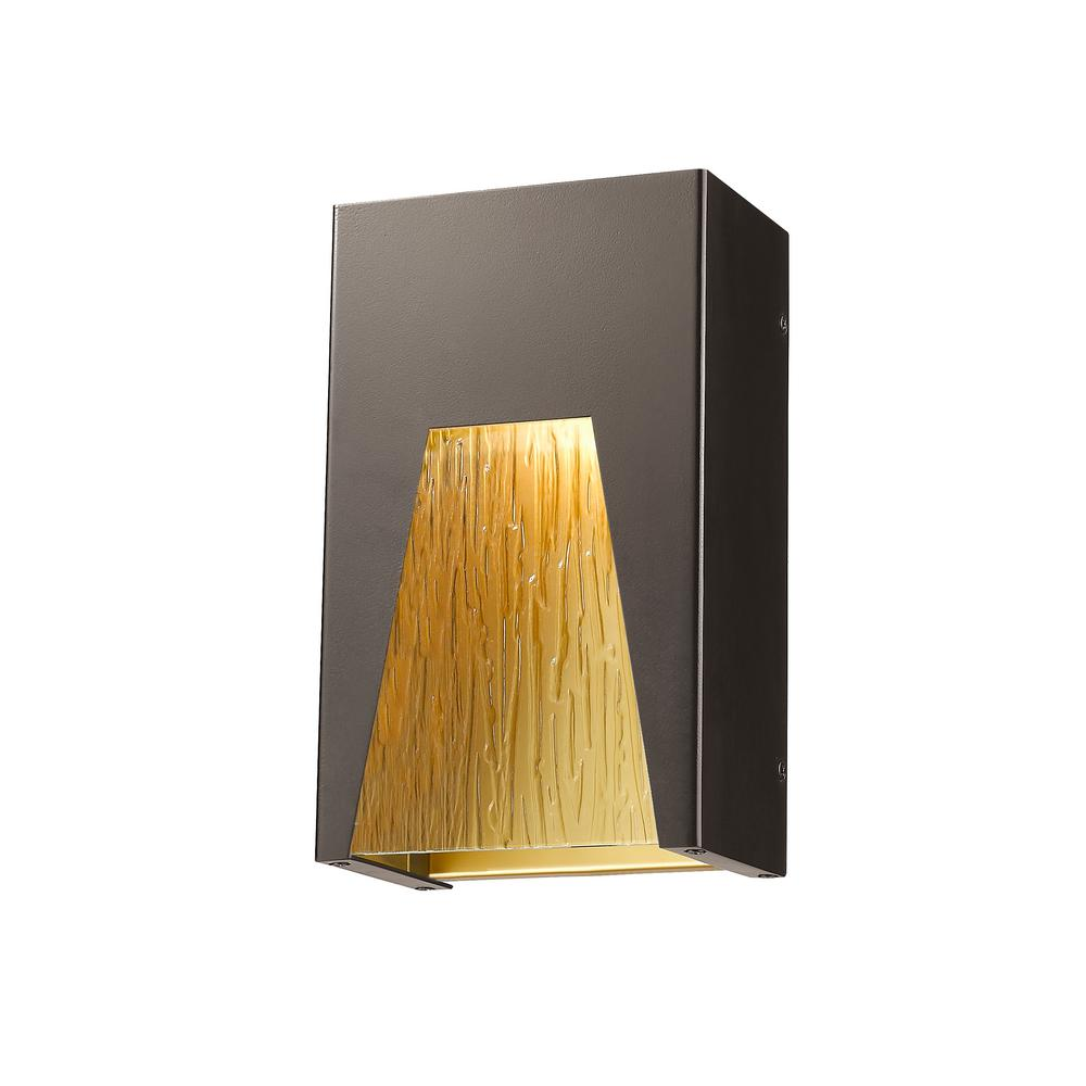 Farran 75-Watt Equivalent Outdoor Bronze Gold Integrated LED Wall Mount Sconce