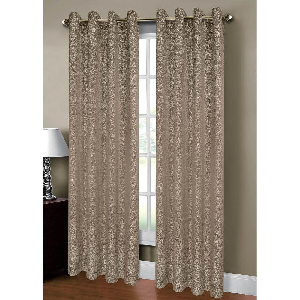 Window Elements Semi Opaque Leila Jacquard Extra Wide 84 In L Grommet Curtain Panel Pair Taupe