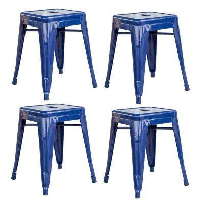 Loft Style 18 in. Stackable Metal Bar Stool in Blue (Set of 4)