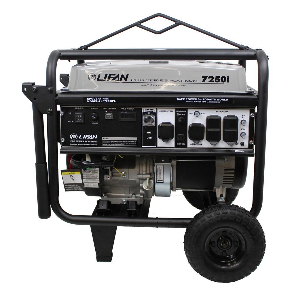Platinum 7,250-Watt/6,500-Watt Recoil Start Gasoline Powered Portable Generator with THD Clean Sine Wave Power