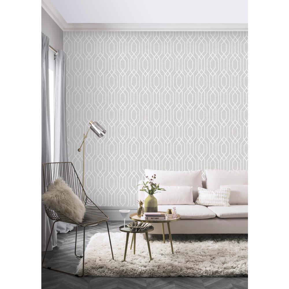 New York Geo Light Grey Wallpaper