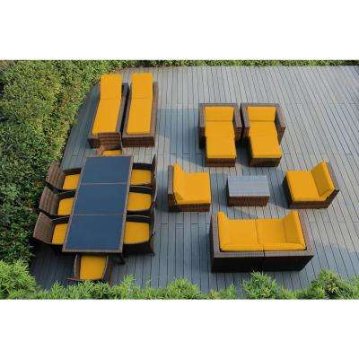 Mixed Brown 20-Piece Wicker Patio Combo Conversation Set with Sunbrella Sunflower Yellow Cushions